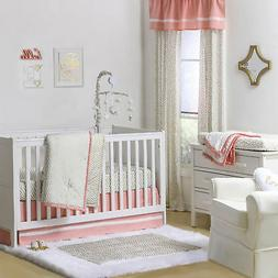 Confetti Coral and Metallic Gold Crib Bedding - 11 Piece Sle