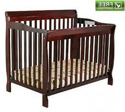 CONVERTIBLE BABY BED 5-in-1 FULL SIZE CRIB CHERRY NURSERY BE