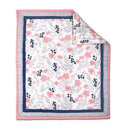 Coral Pink, Navy Blue and Grey Floral Print Baby Crib Quilt
