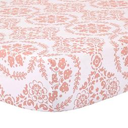 Coral Pink Medallion Fitted Crib Sheet - 100% Cotton Floral