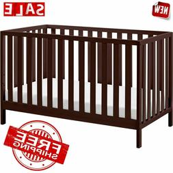 CRIB BABY CONVERTIBLE TODDLER Bed Cot Wooden Changer Nursery