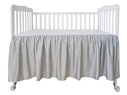 PHF Crib Bed Skirt 100% Cotton Pack of 2 Grey Dust Ruffle Nu