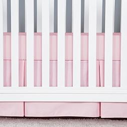 TILLYOU Crib Skirt Pleated Light Pink, 100% Natural Cotton,