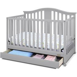 Crib with Drawer 4 in 1 Convertible Baby/Toddler Bed Pebble