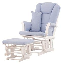 Stork Craft Custom Tuscany Glider and Ottoman - White/ Blue