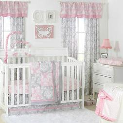 Damask Delight Patchwork Pink/Grey Crib Bedding - 20 Piece N