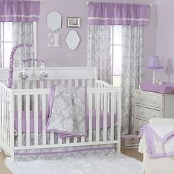 Damsel Damask Purple and Grey Baby Crib Bedding - 20 Piece N
