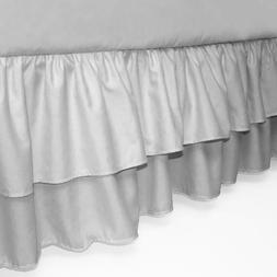 American Baby Company Double Layer Ruffled Crib Skirt, Grey,