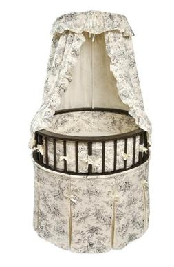 Elegance Round Wooden Baby Bassinet with Bedding, Canopy, an