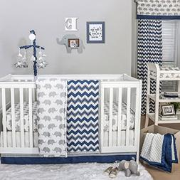 Eli Navy Chevron/Grey Elephant Baby Crib Bedding - 11 Piece