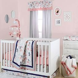 Floral Dot Coral, Grey and Navy Crib Bedding - 20 Piece Nurs