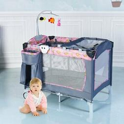 Foldable 2 Color Baby Crib Playpen Playard BB0445 WC