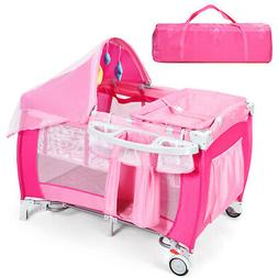 Foldable Baby Crib Playpen Travel Infant Bassinet Bed Mosqui