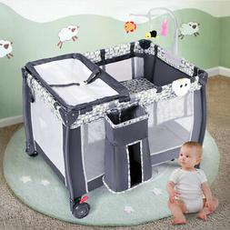Foldable Travel Baby Crib Playpen Infant Bassinet Bed Mosqui