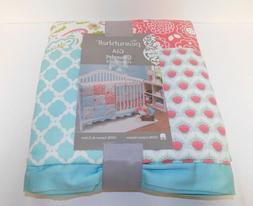 Gia Coral Pink and Aqua Blue Floral Baby Girl Patchwork Cove