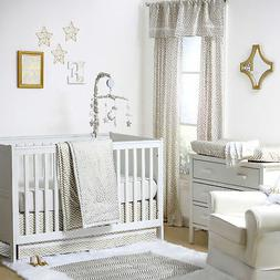 Gold Dot and Chevron Zig Zag 3 Piece Baby Crib Bedding Set b