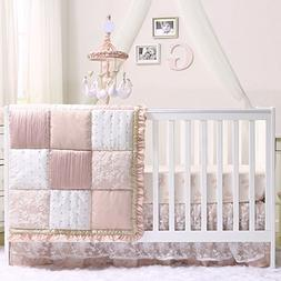 Grace 6 Piece Baby Girl Dusty Pink Crib Bedding Set by The P
