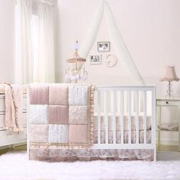 Grace 7 Piece Baby Girl Dusty Pink Crib Bedding Set by The P
