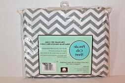Gray Chevron Striped Fitted Crib Sheet Cotton Percale Baby B