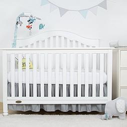 TILLYOU Gray Crib Bed Skirt Dust Ruffle, 100% Natural Cotton