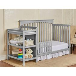 Gray Grey Full Size Convertible 5-in-1 Crib Bed Baby Toddler