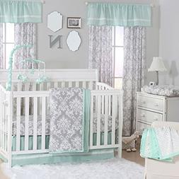 Grey Damask and Mint Green 4 Piece Baby Crib Bedding Set by