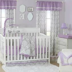 Grey Damask and Purple 3 Piece Baby Crib Bedding Set by The