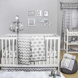 Grey Elephant and Chevron 3 Piece Baby Crib Bedding Set by T