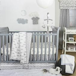 Grey and White Cloud Print 3 Piece Baby Crib Bedding Set by