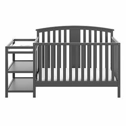 Storkcraft Greyson 4-in-1 Convertible Crib and Changer Gray,