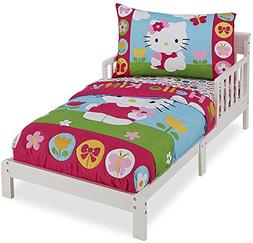 Hello Kitty 4 piece toddler bed set quilt sheets pillow case