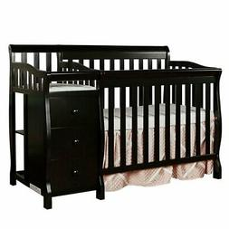 Jayden 4-in-1 Mini Convertible 2 Piece Crib Set, Black