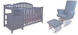 Athena Kali 4-in-1 Crib and Changer with Modern Glider Chair