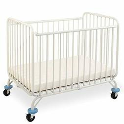 L.A. Baby Deluxe Holiday Folding Metal Crib, White