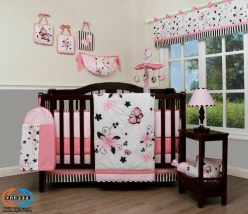 13pcs new pink butterfly baby nursery crib
