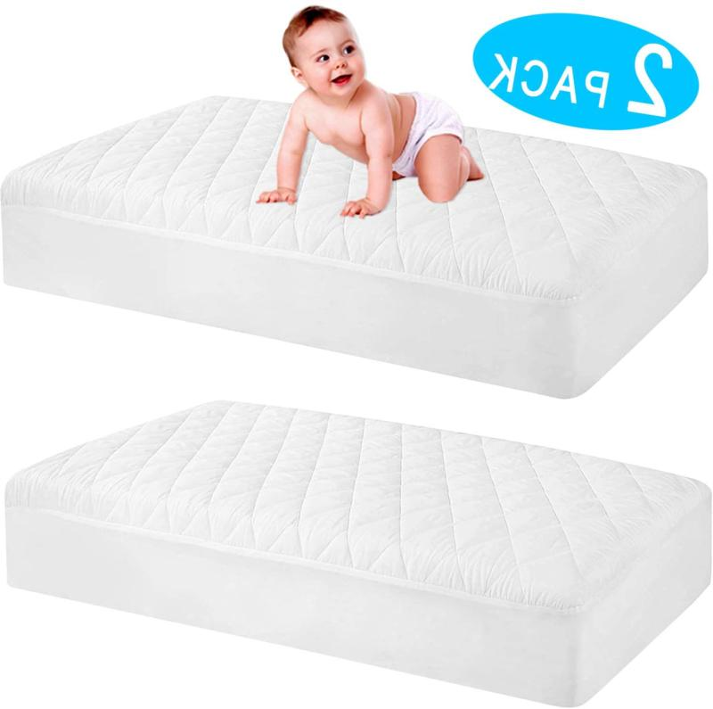 2 pack waterproof crib mattress protector quilted