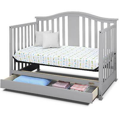 4 in Baby Crib Toddler Bed Nursery GRAY