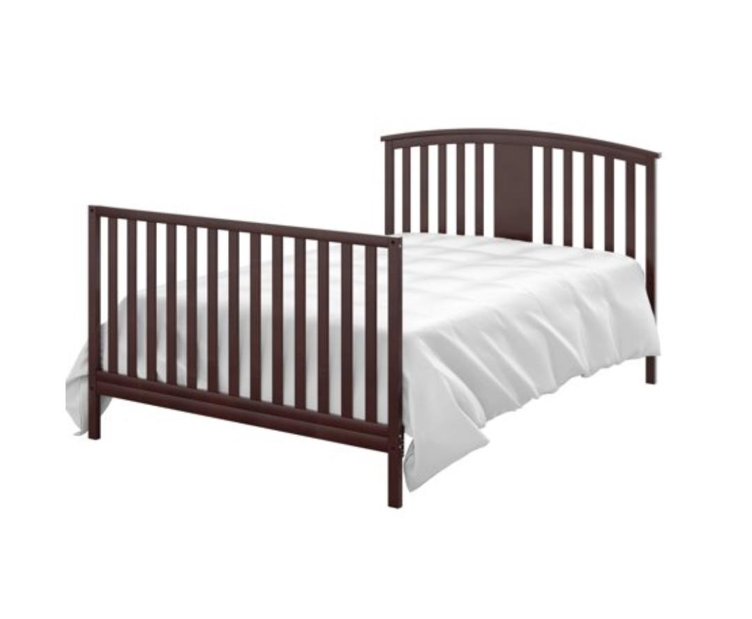 4 in Convertible Wooden Crib Toddler Bed Bedroom Infant