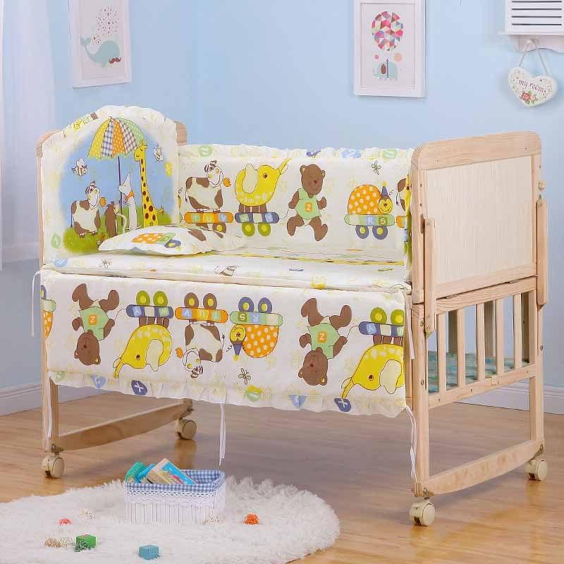 5Pcs/<font><b>Set</b></font> Cartoon <font><b>Crib</b></font> Bed Bumper Newborns 100%Cotton Comfortable Protector <font><b>Set</b></font>