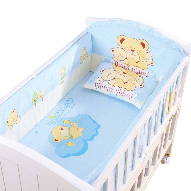 5Pcs/<font><b>Set</b></font> Cartoon Animated <font><b>Crib</b></font> Bed Bumper For 100%Cotton Children's Protector <font><b>Baby</b></font> <font><b>Set</b></font>