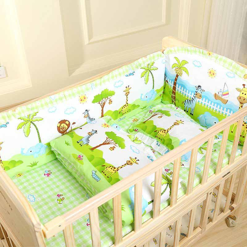 5Pcs/<font><b>Set</b></font> Cartoon <font><b>Crib</b></font> Bed Bumper For 100%Cotton Comfortable Bed Protector <font><b>Baby</b></font> Washable <font><b>Set</b></font>