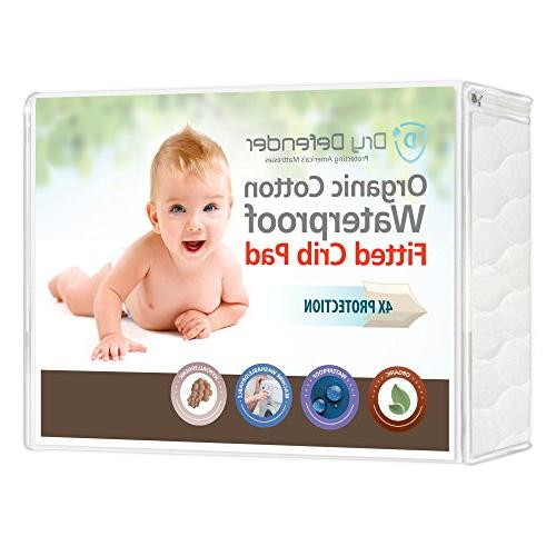 Non-Toxic /& Hypoallergenic Organic Cotton Waterproof Pack N Play Crib Pad Unbleached Natural Baby Crib Mattress Cover and Protector Fitted