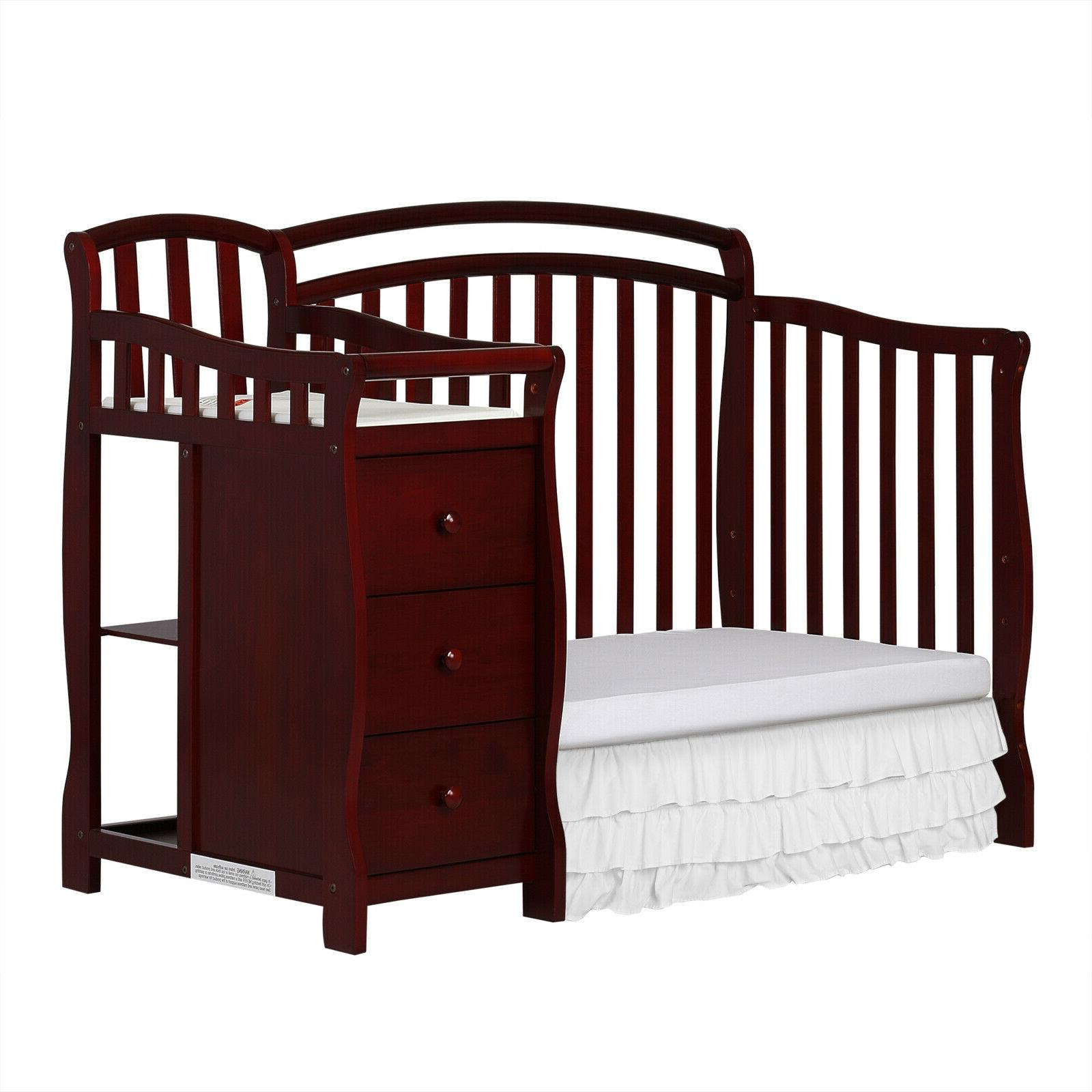 Baby Bed 4-in-1 Crib and Table, Cherry