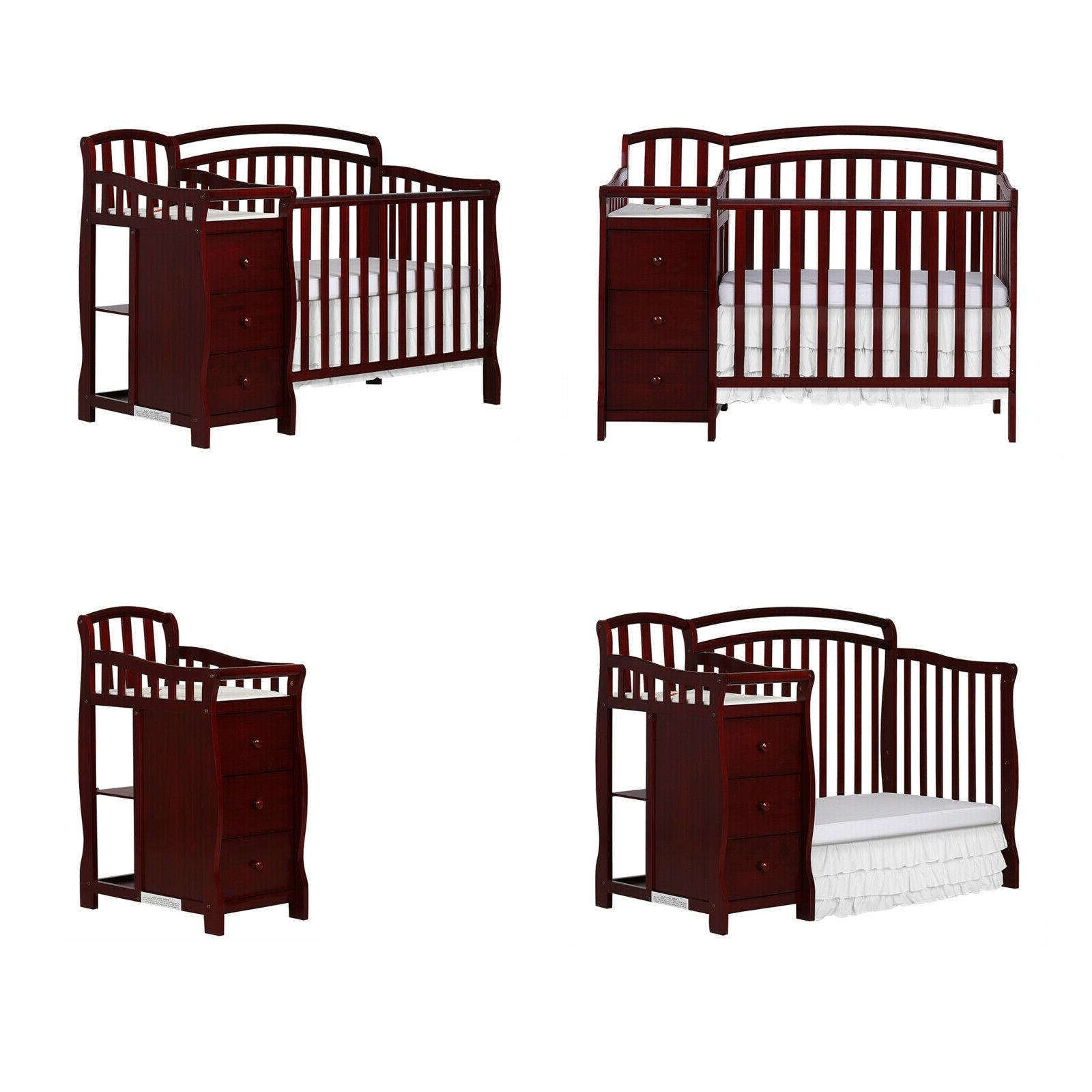 Baby Crib and Dressing Table, Cherry