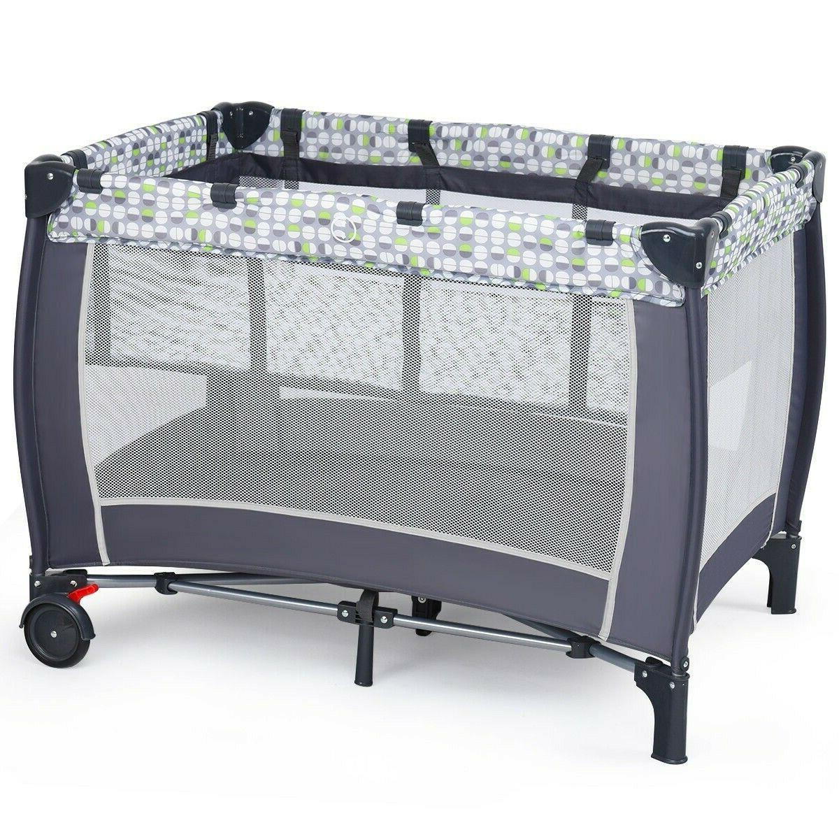 Crib Infant Playpen With Toys Portable Changer