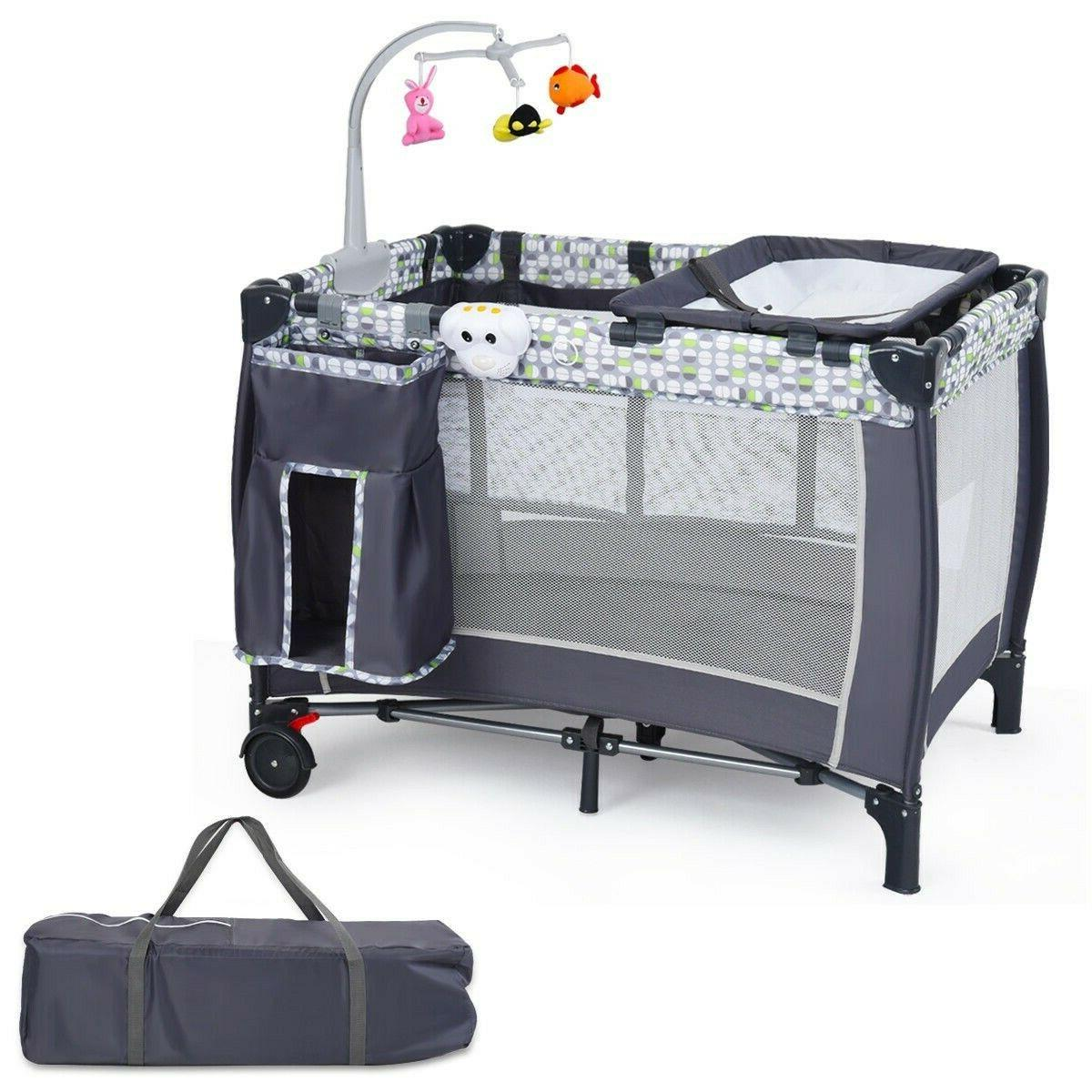 Crib With Toys Portable Bed Changer