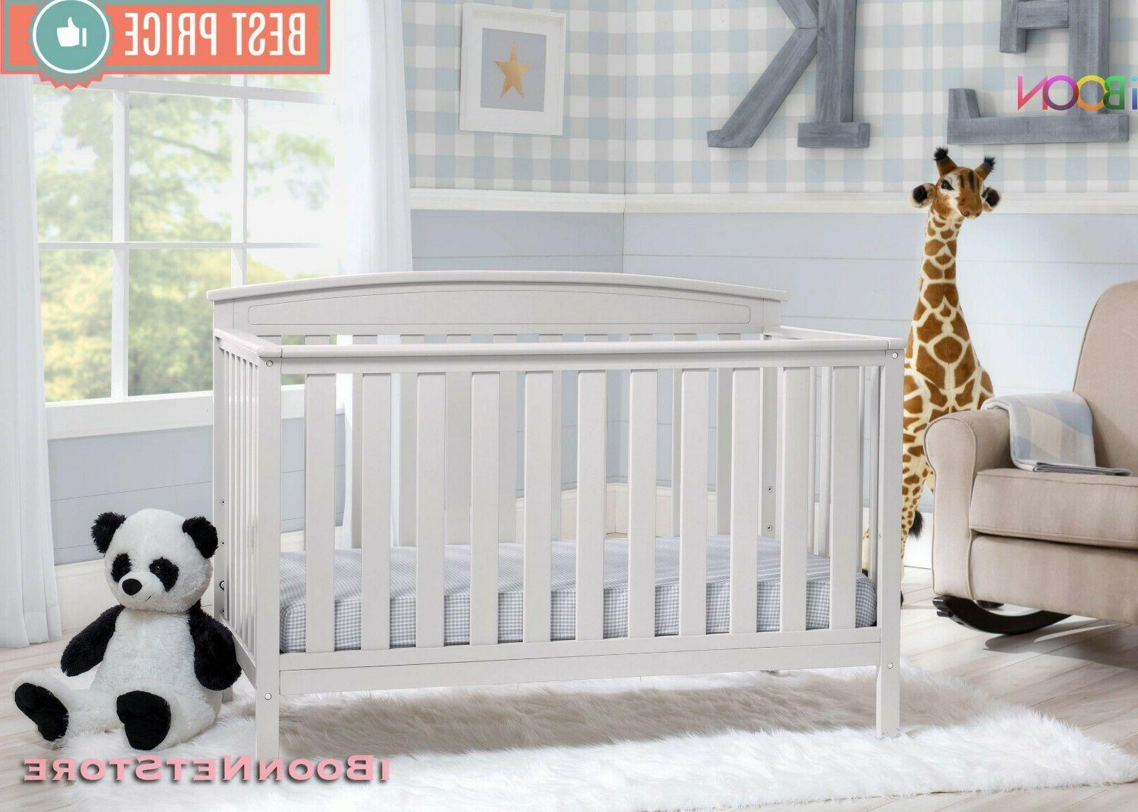 Adjustable Baby Crib in 1 Convertible Wood Convert Toddler BED