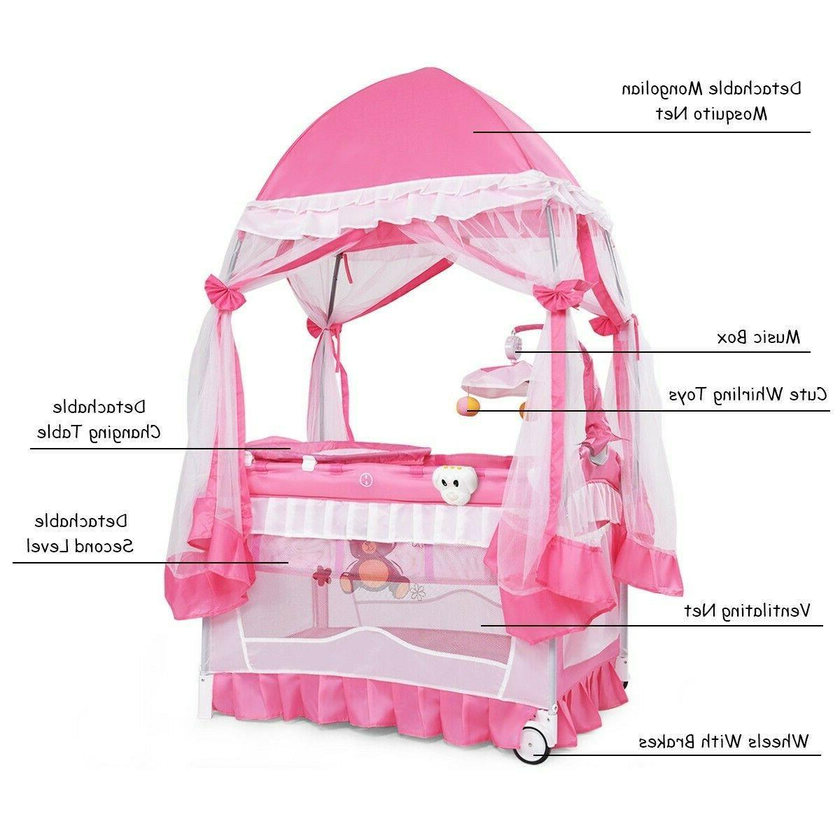 Baby Bassinet Nursery Furniture Newborn Pink Playpen 79