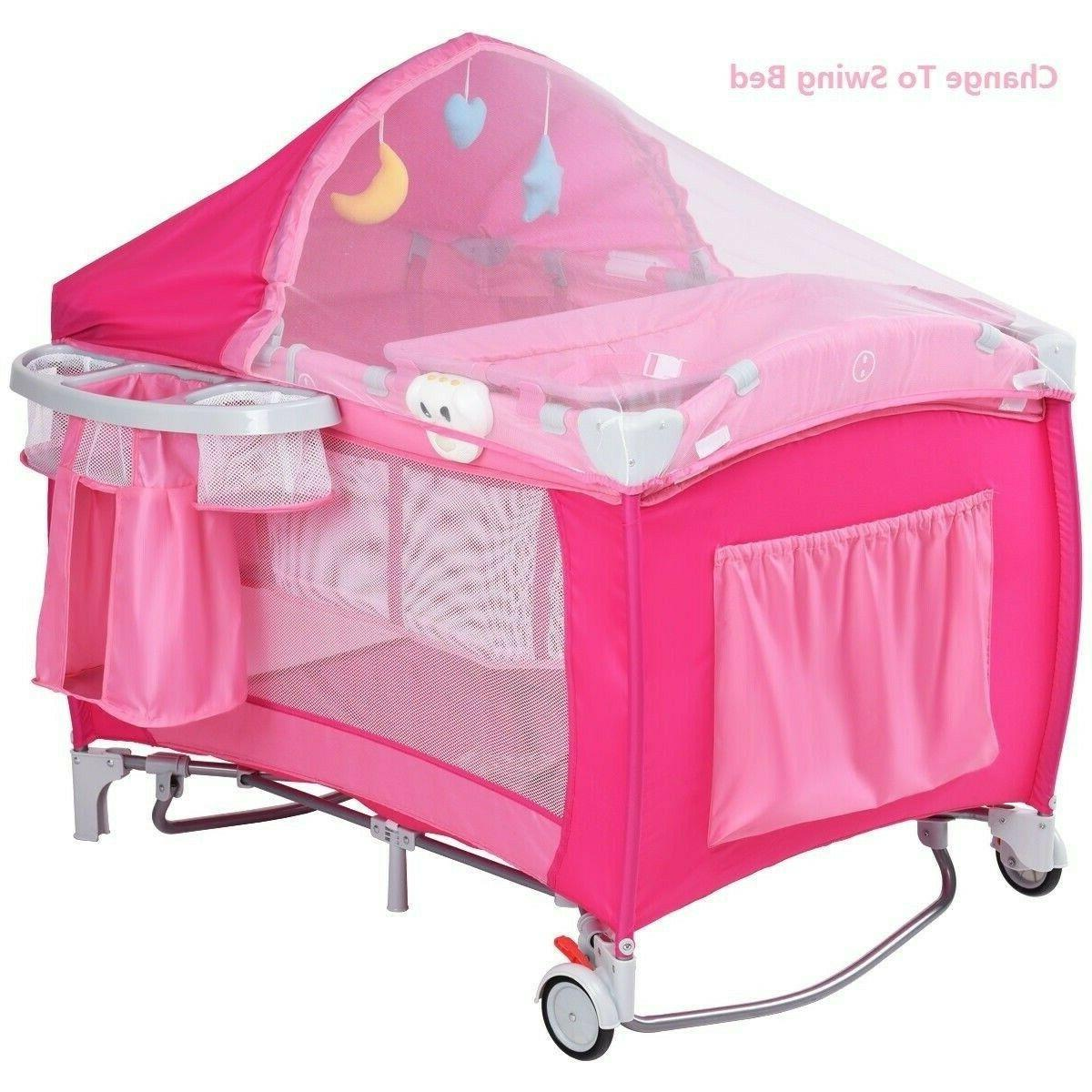 Baby Crib Infant Bed Portable Newborn Nursery