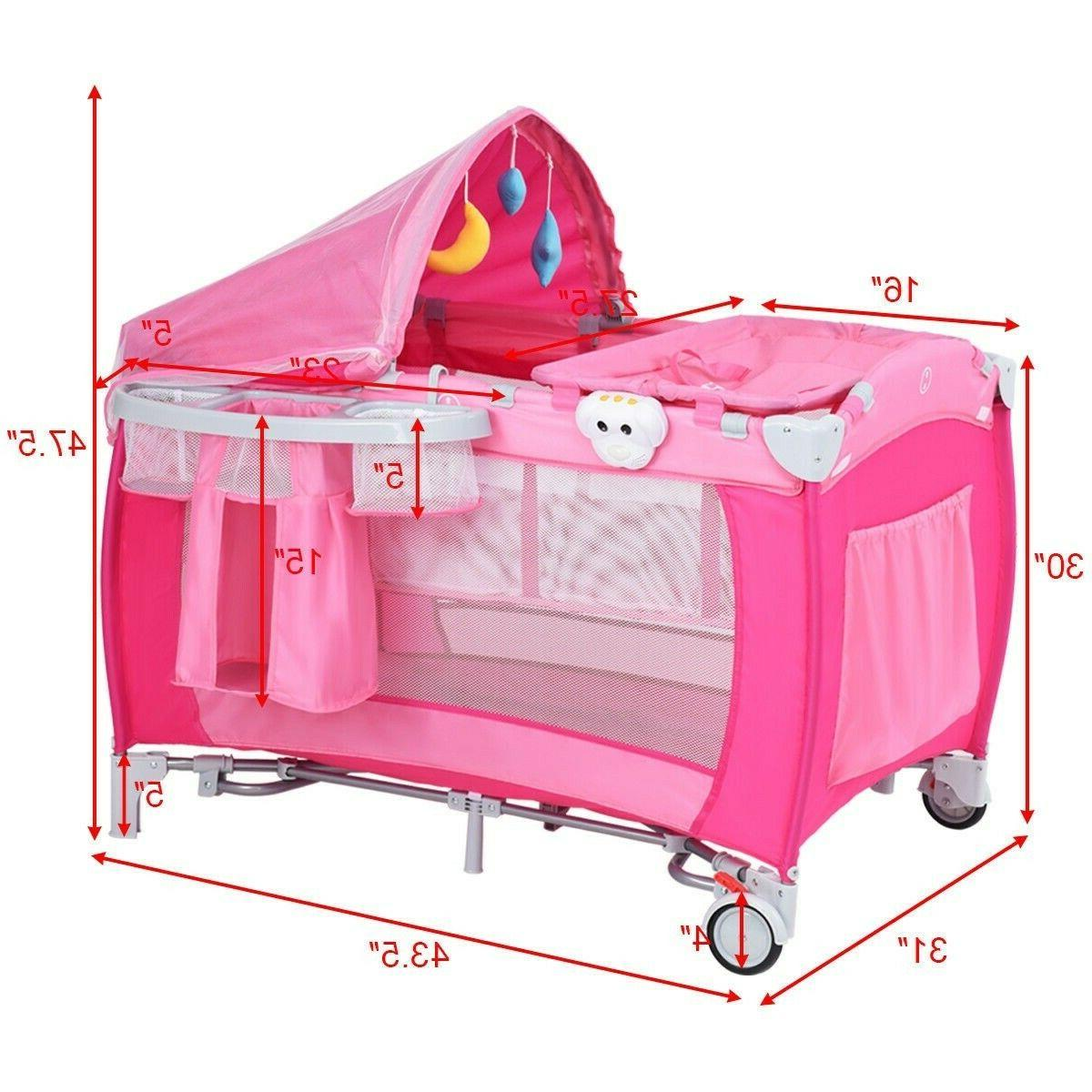 Baby Crib Foldable Playpen Infant Bed